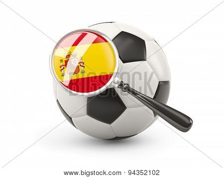 Football With Magnified Flag Of Spain