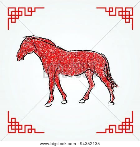 Red ink drawing line art , horse zodiac