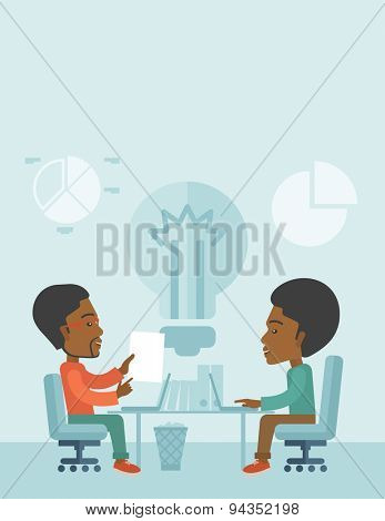 Two African businessmen sitting working together getting a brilliant ideas from internet using their laptop. A Contemporary style with pastel palette, soft blue tinted background. Vector flat design