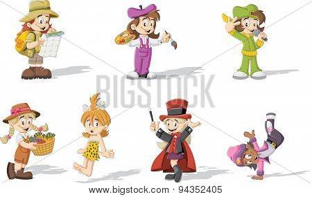 Group of cartoon girls wearing different costumes