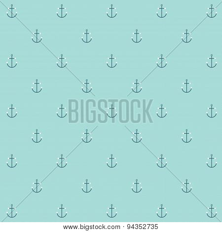 Cute simple and minimal naval anchor icon seamless pattern background