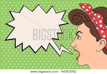 Brunet retro woman shouting. Vintage art.