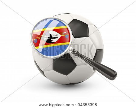 Football With Magnified Flag Of Swaziland