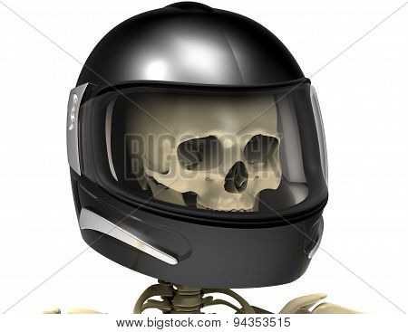 Helmet With A Scull Inside Isolated On White