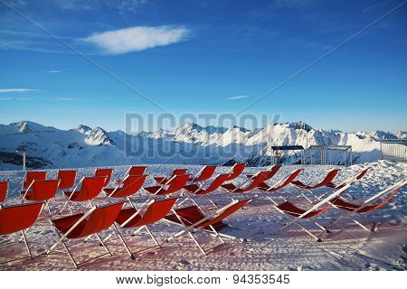 Chairs on the slopes of the mountains in the Alps, Austria.