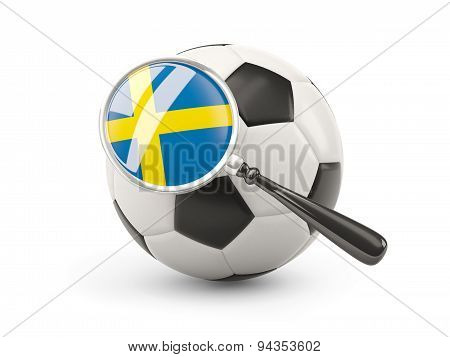 Football With Magnified Flag Of Sweden