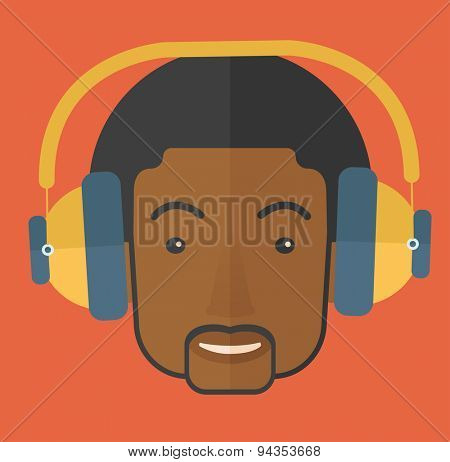 A Happy black young guy listening to music with headphones. Happy concept. A Contemporary style with pastel palette, orange tinted background. Vector flat design illustration. Square layout.