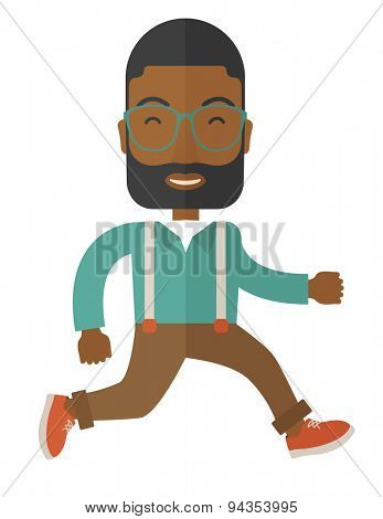 A young african businessman running, excited surprised happy amazed smile successful leader. A Contemporary style. Vector flat design illustration with isolated white background. Vertical layout.