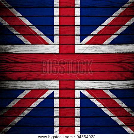 england flag on wood plank background