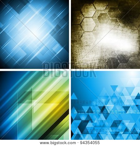 Hi-tech abstract backgrounds set. Raster art design