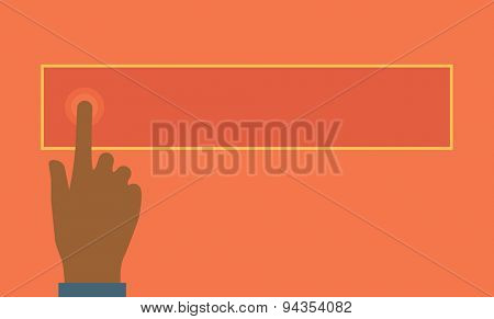 Hand pressing the touchscreen index finger extended. A Contemporary style with pastel palette, orange tinted background. Vector flat design illustration. Horizontal layout.