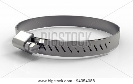 Metal Hose Clamp Isolated On White