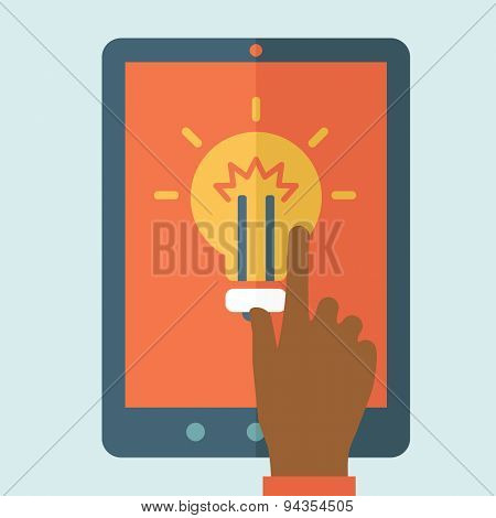 The finger hand pointing the bulb in big screen. Idea concept. A Contemporary style with pastel palette, soft blue tinted background. Vector flat design illustration. Square layout.