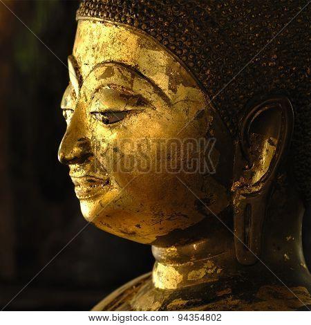 Face Of Golden Buddha In Chiangmai Thailand