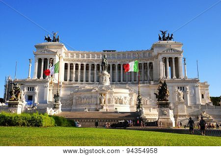 September 10, 2011, Rome. Vittorio Emanuele Ii Monument  At Piazza Venezia In Rome In Clear Blue Sky