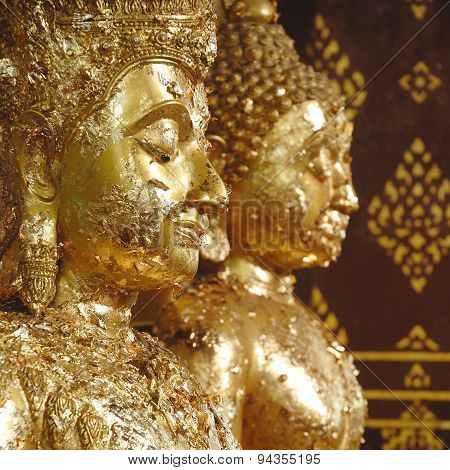 Beautiful Ancient Golden Buddha State In Thailand