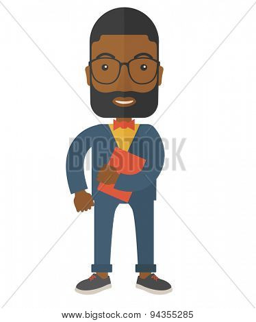 A black office clerk standing holding a book under his arm. A contemporary style. Vector flat design illustration with isolated white background. Vertical layout.