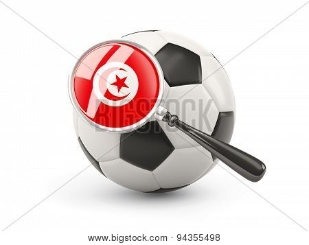 Football With Magnified Flag Of Tunisia