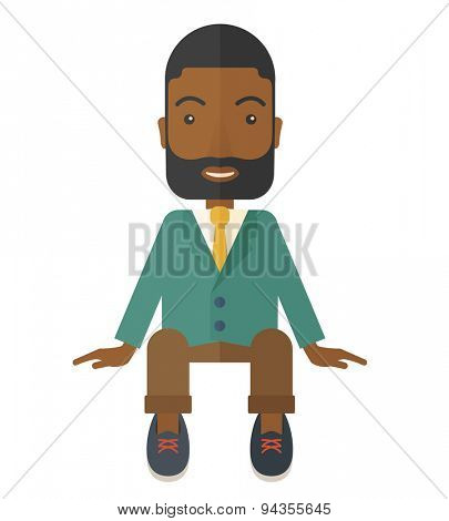 A happy african businessman smiling while sitting for his business success. Business concept. A Contemporary style. Vector flat design illustration isolated white background. Square layout.