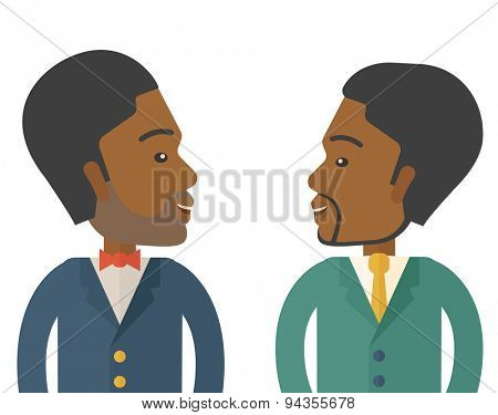 Two businessmen smiling to each other showing that they are happy for their business. A Contemporary style. Vector flat design illustration isolated white background. Square layout.