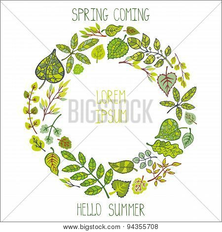 Green leaves,branches wreath,Spring,summer background