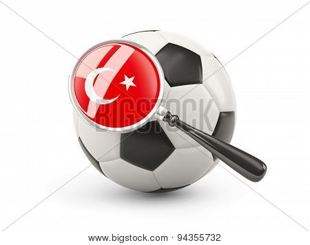 Football With Magnified Flag Of Turkey