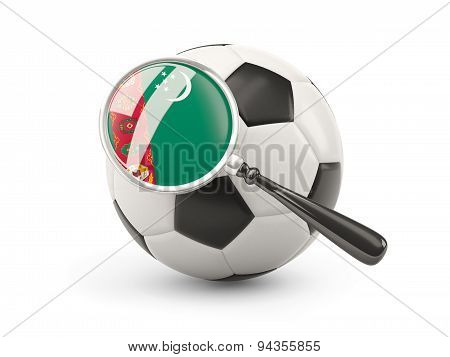 Football With Magnified Flag Of Turkmenistan