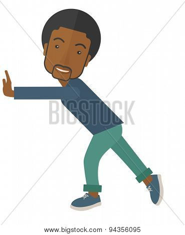 A black man is pushed to start a new business. Business strategy concept. A contemporary style. Vector flat design illustration with isolated white background. Vertical layout.