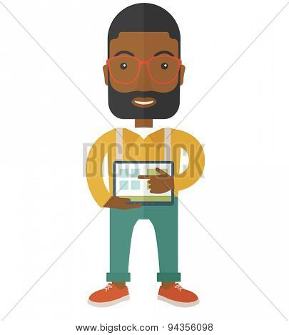 A black man standing while his hand pointing to the tablet to do his office presentation with the schedule of financial market. Business concept. A Contemporary style. Vector flat design illustration