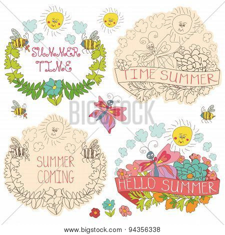 Doodle floral label with butterflies,bees,sun.Hello summer