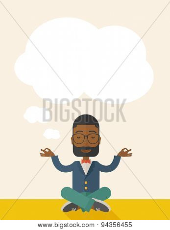 An african man closing his eyes thinking about on how the business will grow. Business concept. A Contemporary style with pastel palette, soft beige tinted background. Vector flat design illustration