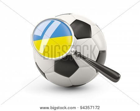 Football With Magnified Flag Of Ukraine