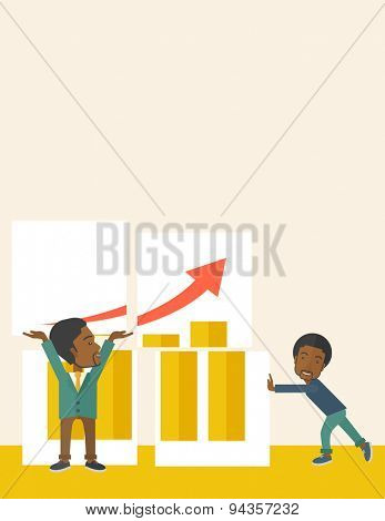 Two happy black businessmen are both successful in business that shows in the graph. Business growth concept. A Contemporary style with pastel palette, soft beige tinted background. Vector flat design
