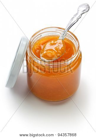 homemade apricot jam isolated on white background