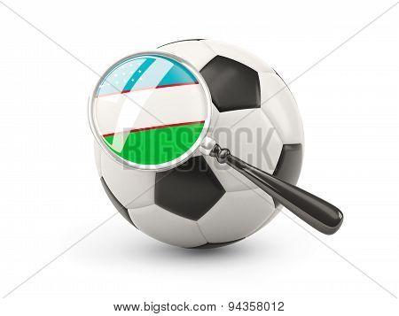 Football With Magnified Flag Of Uzbekistan