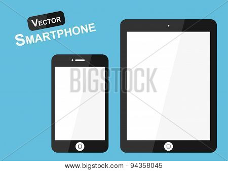 Smart Phone Vector On Blue Background