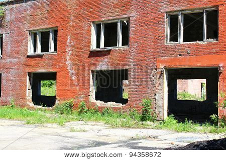 Entrance to an abandoned brick building