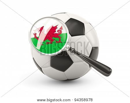 Football With Magnified Flag Of Wales
