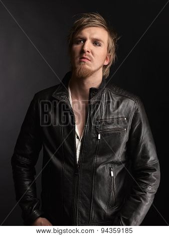 Male Rocker And Black Leather Jacket