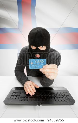 Cybercrime Concept With National Flag On Background - Faroe Islands