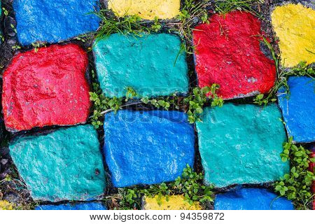Colorful Painted Granite Stone Paving Texture