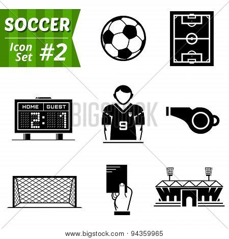 Icons Set Of Soccer Elements