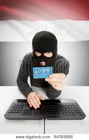 Cybercrime Concept With National Flag On Background - Iraq