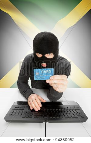 Cybercrime Concept With National Flag On Background - Jamaica
