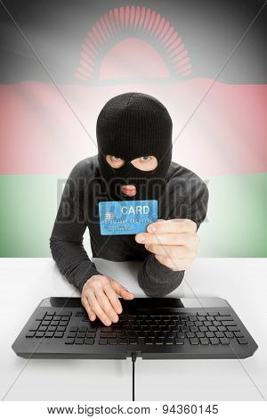 Cybercrime Concept With National Flag On Background - Malawi