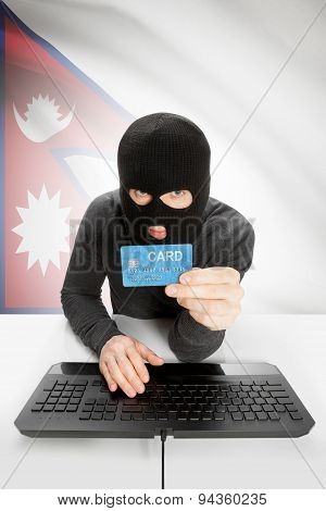 Cyber crime Concept With National Flag On Background - Nepal