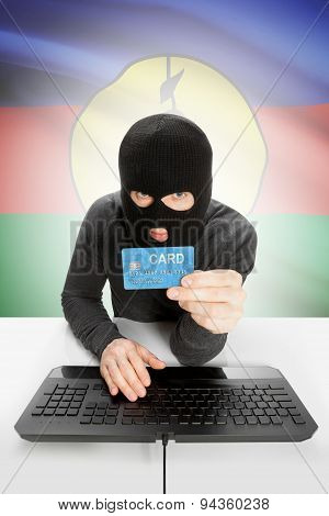 Cyber crime Concept With National Flag On Background - New Caledonia
