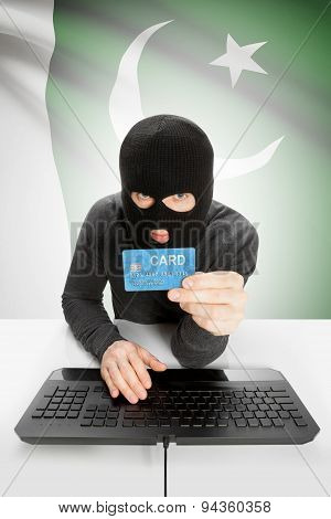 Cybercrime Concept With National Flag On Background - Pakistan
