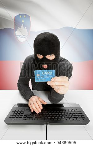 Cybercrime Concept With National Flag On Background - Slovenia