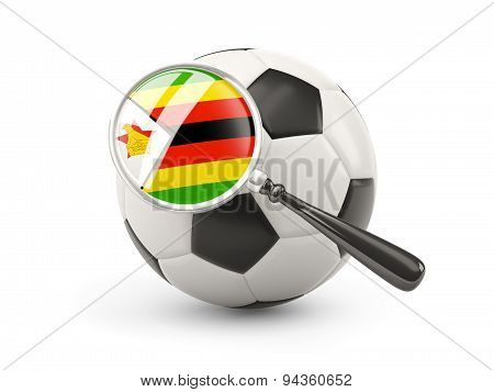 Football With Magnified Flag Of Zimbabwe